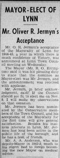 1944 Oct 13th O R Jermyn Mayor elect