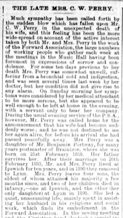 1903 Mar 20th Obit Mrs C W Perry