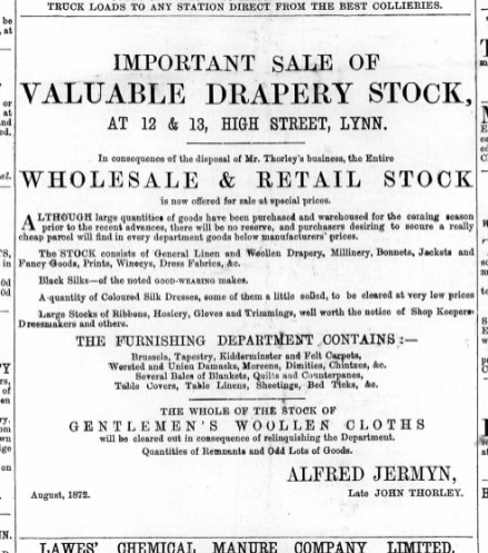 1872 Aug 24th Jermyns sale @ Nos 12 & 13