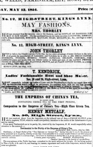 1854 May 13th Mrs Thorley @ No 12