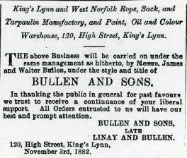 1882 9th December Bullen & Sons @ No 120