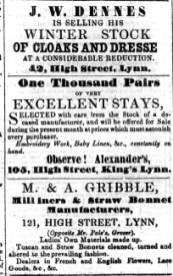 1858 Feb 20th M & A Gribble @ No 121