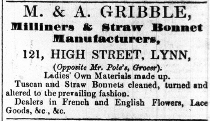 1858 Jan 2nd M & A Gribble @ No 121