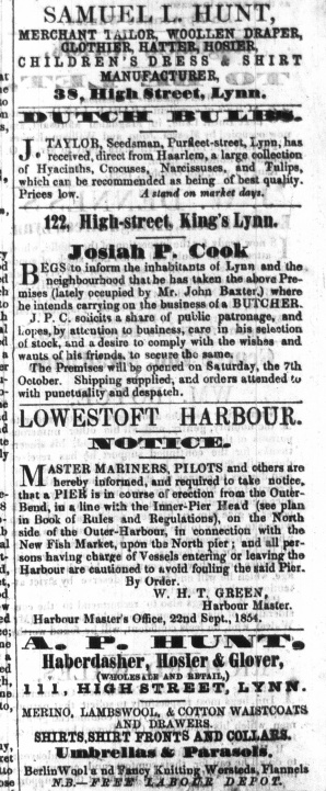 1854 Oct 7th Josiah P Cook @ No 122