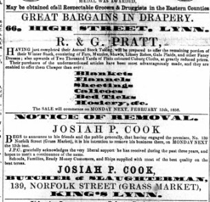 1858 13th Feb Josiah Cook moves to 139 Norfolk Street
