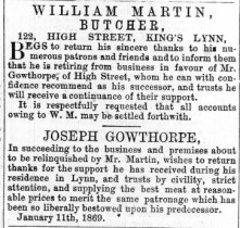 1869 Jan 9th Gowthorpe succeeds Martin @ No 122