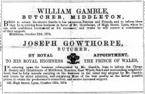 1874 October 24th Joseph Gowthorpe expands @ Middleton No 122