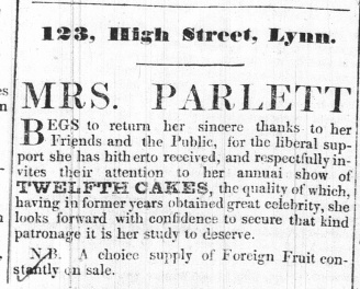 1844 Jan 2nd Mrs Parlett @ 123