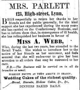 1852 July 17th Miss A Webb