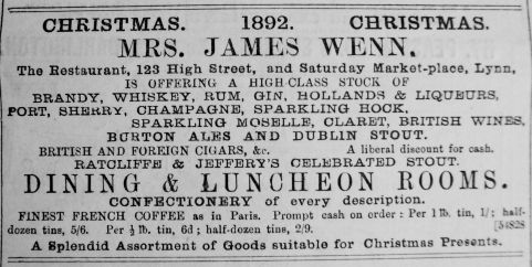 1892 Dec 10th Mrs Wenn