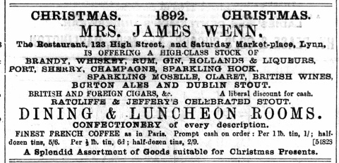 1892 December 10th Mrs James Wenn @ No 123