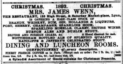 1893 DEcember 9th Mrs James Wenn @ No 123