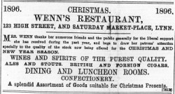 1896 Dec 18th Wenns Restaurant @ No 123