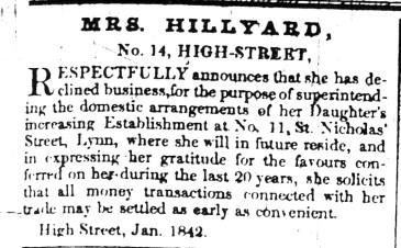 1842 Feb 1st Mrs HILLYARD