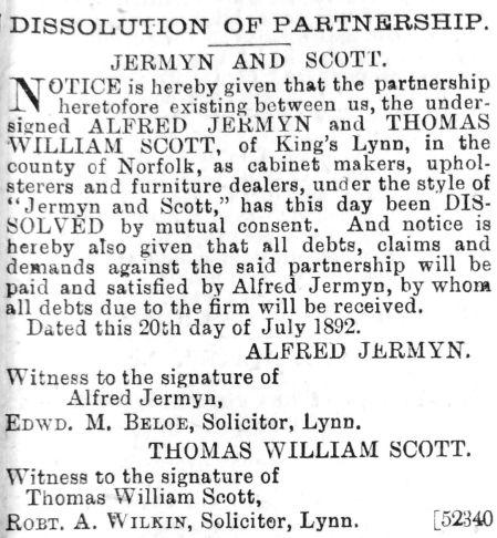 1892 Aug 6th Dissolution notice
