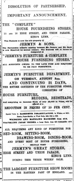 1892 August 6th Jermyn & Sons @ Nos 15 & 16