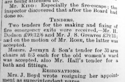1904 Mar 18th Jermyns tender Borough Guardians
