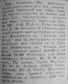 1927 Dec 2nd Jermyn & Sons Ltd formed