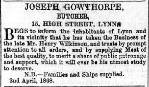 1868 April 4th GOWTHORPE @ No 15
