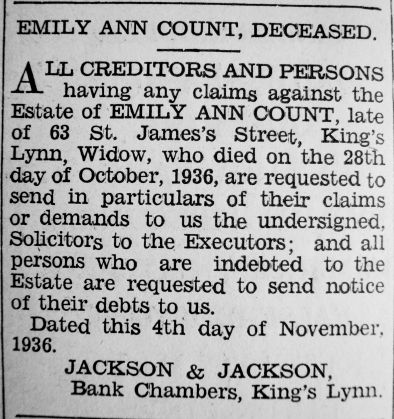 1936 Nov 6th Emily Count deceased notice