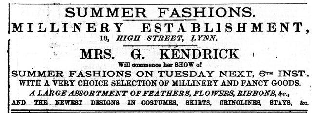 1873 May 13th Mrs G Kendrick
