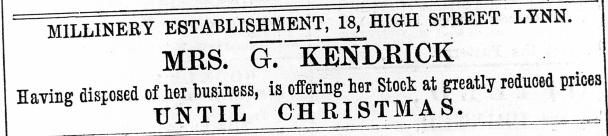 1883 22nd Dec Mrs G Kendrick sold up No 18