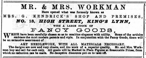 1886 Oct 16th Mr & Mrs Workman @ No 18 ex LN