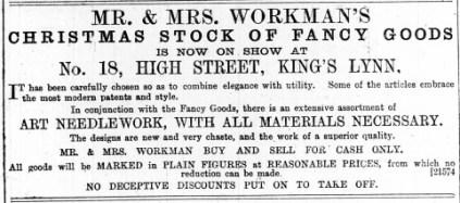 1887 January 1st Mr & Mrs Workman @ No 18