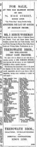 1888 July 14 Trenowath selling Workmans stock ex no 18 @ No 74