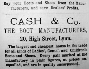 1885 Lynn News Almanack Cash & Co