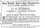 1864 Sept 10th G H Burrell recommences business @ Nos 21 & 22