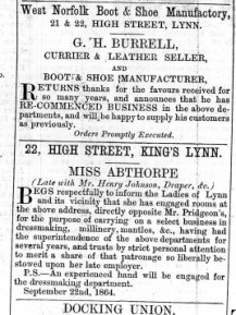 1864 Sept 24th G H Burrell @ Nos 21 & 22