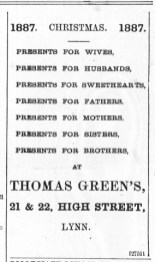 1887 Dec 10th Thomas Green @ Nos 21 & 22