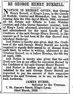 1866 March 24th G H Burrells estate @ No 22