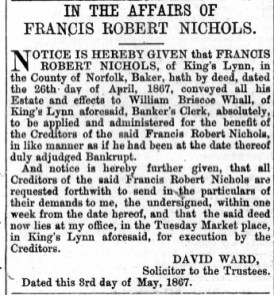 1867 May 4th Francis Nichols @ No 22 piece 2