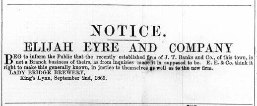 1869 Oct 2nd Elijah Eyre & Co v James Banks @ No 23
