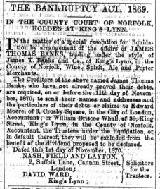 1870 Nov 5th J T Banks @ No 23