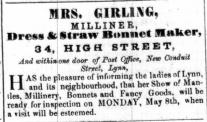 1854 April 29th Mrs Girling @ No 34