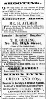 1854 T R Girling sells Kings stock @ No 34