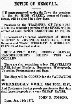 1879 11th Jan Cossons sells up