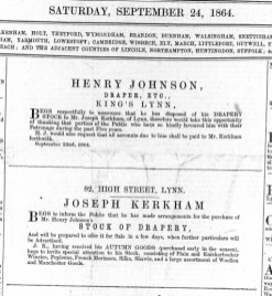 1864 Sept 24th Henry Johnson sells out to Joseph Kerkham @ No 82