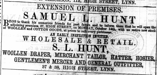 1867 Oct 12th Samuel Hunt @ Nos 37 & 38