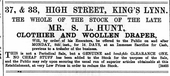 1889 April 6th S L Hunts stock sold @ Nos 37 & 38