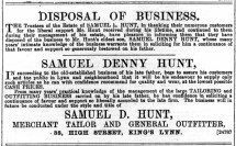 1889 May 4th S D Hunt succeeds his father @ No 38