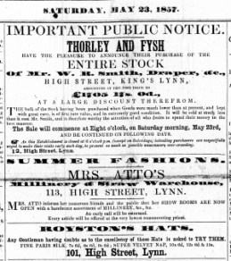 1857 May 23rd Thorley & Fysh buy WR Smiths stock No 37