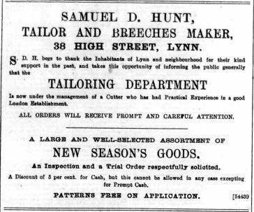 1892 November 5th Samuel D Hunt @ No 38