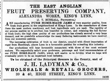 1890 August 2nd East Anglian Fruit Preserving co @ Ladymans @ Nos 39 & 40