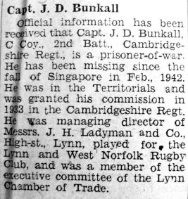 1943 Jan 29th Capt J D Bunkall PoW