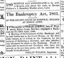1863 July 11th Sarah Inkson bankrupt @ 43
