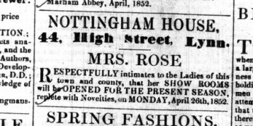 1852 Apr 24th Mrs Rose @ No 44
